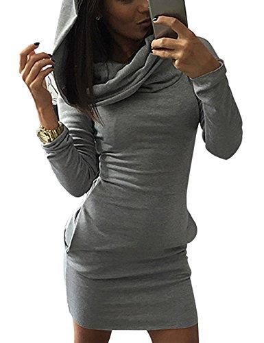 Minetom Donna Autunno Casual Maniche Lunghe Tasca Slim Felpa con cappuccio Pullover Giacca Outwear Grigio IT 40