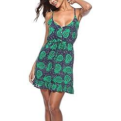 Vestido corto para Las mujeres, vestido de verano estampado de piña, vestido de viaje de playa, impreso Sexy Slip Dress Bohemia Style Clothes para Party Club Beach Festival de regalo