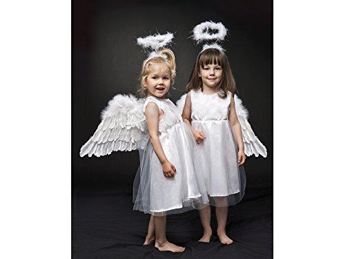 Kostüm Engel komplett mit Kleid, Flügeln und Heiligenschein Größe 98- (Flügel Engel Zubehör Kostüm)