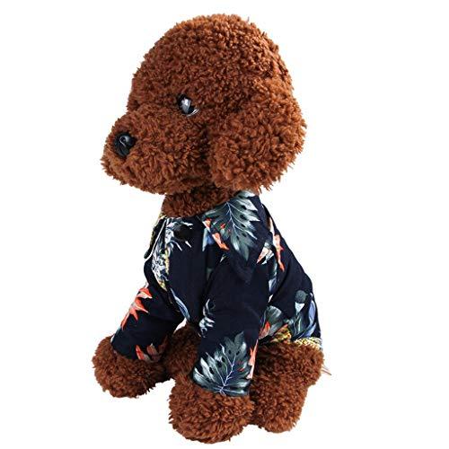 EUCoo Pet Kleidung Welpen Katze FrüHling Und Sommer Hawaiianer Baumwollhemd Haustier Rock Gedruckt Pet Kleidung(Marine, XL)