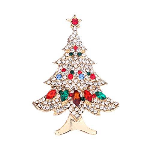 Art und Weise Weihnachtsbaum eingelegte Rhinestones-Legierungs Brosche Frauenmädchen Zusätze ()