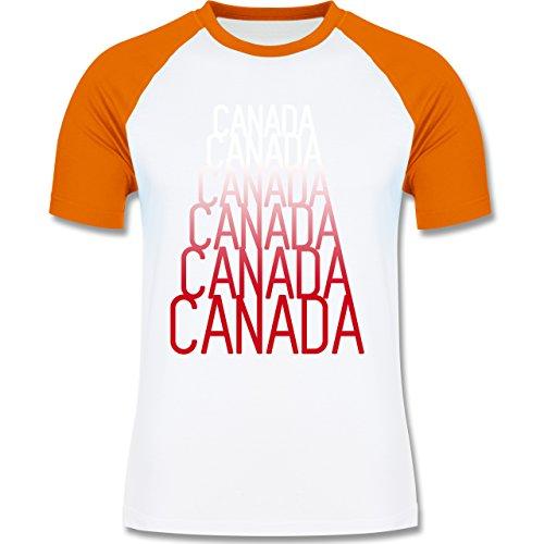 Länder - Canada Fan Shirt - zweifarbiges Baseballshirt für Männer Weiß/Orange