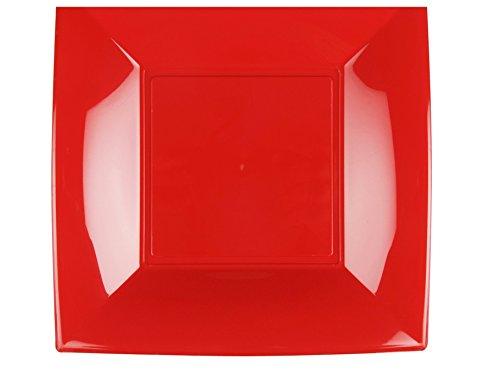Gold Plast - Piatto Piano Nice, colore rosso - 6 pz per confezione, Capienza 450 cc