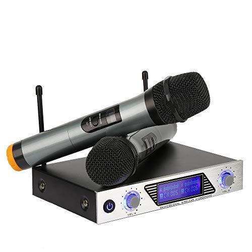 Micrófono Inalámbrico Karaoke Profesioanl, Micrófono Mano VHF Equipo 1 Receptor con 2 Microfónos Inalámbricos Karaoke Rosa