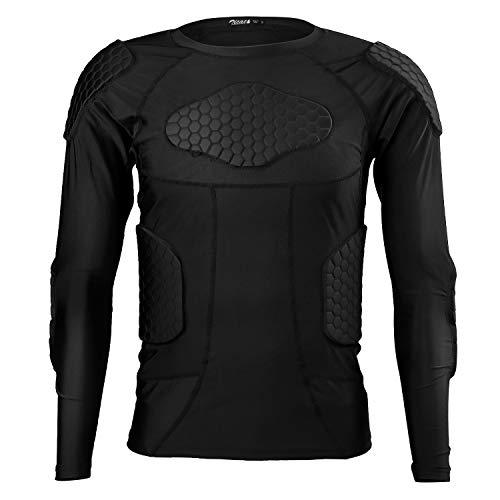 Zicac Sports Gepolsterte Kompression Tops Langarm Shock Guard Schutzhemd Schulter Rippe Brustschutz für Outdoor Fußball Basketball Paintball Rugby