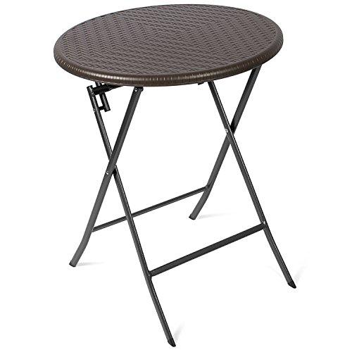 Vanage Beistelltisch in braun - runder Gartentisch in Rattanoptik - Kunststofftisch für Garten, Terrasse und Balkon geeignet - Bistrotisch mit Stahlgestell