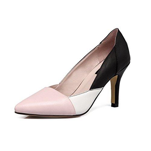 Voguezone009 Senhoras Puxar Couro Pu Apontou Salto Alto Toe Bombas Sapatos Rosa Cor Misturada