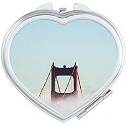 DIYthinker Brouillard Golden Gate Bridge Bay Pont Suspendu Nuage Coeur Maquillage Compact Miroir de Poche Portable Mignon Petit Miroirs Main Cadeau Multicolore