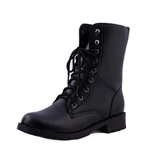 Damen Schuhe DEELIN Neue Produkte Mode Frauen Männer Lace up Flat Biker Militärarmee Combat Black Boots Schuhe (37, Schwarz)
