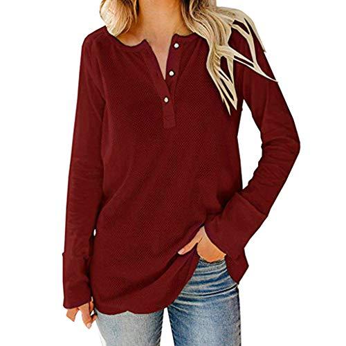 BIKETAFUWY Henley-Shirts für Damen Pullover Waffel Strick Casual V-Ausschnitt Pullover Bluse Shirts Casual Langarm Button Tunika Tops Bluse -