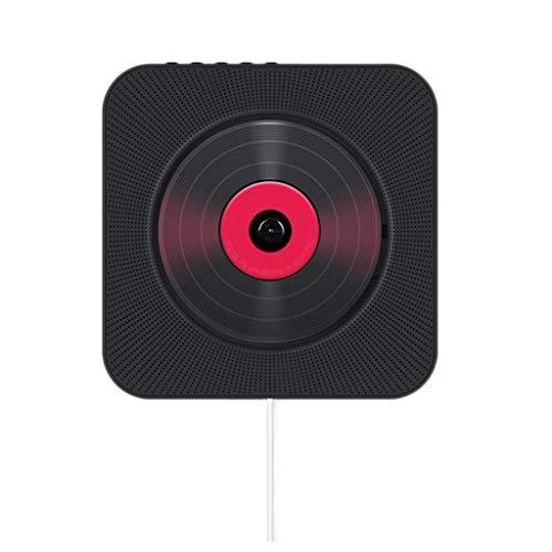 DUOER home Tragbare CD-Player An der Wand befestigter Bluetooth-CD-Player-Pull-Schalter mit Remote-HiFi-Lautsprecher USB-Laufwerk-Player Kopfhöreranschluss AUX-Eingang / -Ausgang (Color : Black)