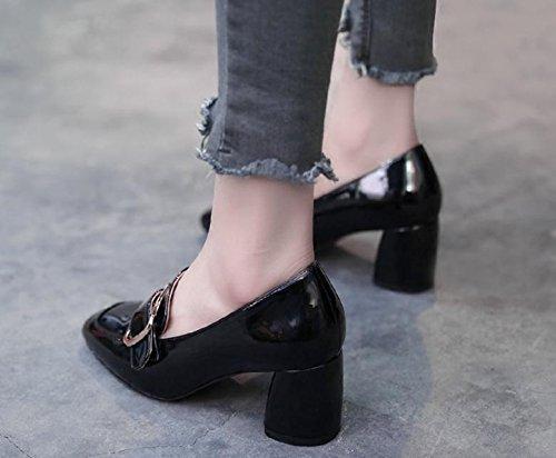 2017 nouvelles chaussures boucle carrée unique carré chaussures à talons hauts avec des chaussures de sport épais Black