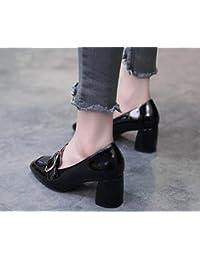 2017 zapatos nuevos solos zapatos de hebilla cuadrada cuadrada de tacón alto con los zapatos ocasionales gruesas , black , 6