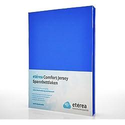 etérea Comfort Jersey Spannbettlaken - in viele Farben und alle Größen - 100% Baumwolle, Blau 140x200 - 160x200 cm