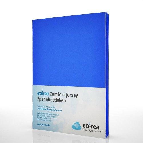 etérea Comfort Jersey Spannbettlaken - in viele Farben und alle Größen - 100{83735b49e792709277ebaa94fe4500acf001aebef62a4a0152bbfcd3d03287cc} Baumwolle, Blau 140x200 - 160x200 cm