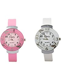 Swadesi Stuff Glory Combo Of Two-Baby Pink And White Glory Circular Dial Watch For Women