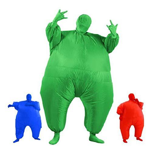 Halloween Erwachsene Cosplay Air Suit Aufblasbare Fat Suit Anzug Kostümfest Kostüm Rot Grün Blau Freie Größe,Green (Fat Suit Für Erwachsene Kostüm)