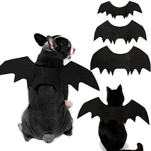 XIAOPANG Haustier Halloween Kleid Fledermausflügel lustige Welpen Katze verkleiden Sich (schwarz S/M/L),S (Klebeband Batman Kostüm)