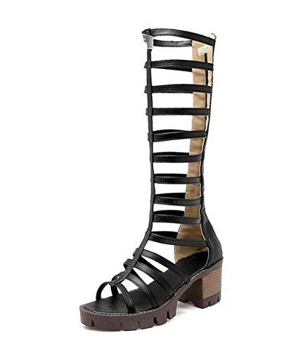 SHINIK Sandales Femmes talon ouvert Talons creux Combinaison de haut-Rosay Roman chaussures épaisses Boot Black