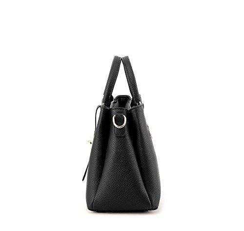 HQYSS Damen-handtaschen Frauen PU-lederne bewegliche Schulter-Kurier-Handtasche Einfache wilde feste Farben-Einkaufstasche black