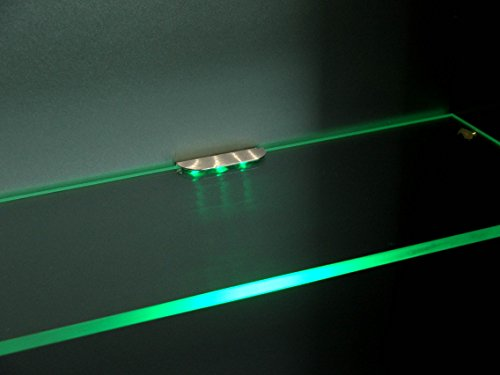 LED Glasbodenbeleuchtung, LED-Leuchte, Regalbodenbeleuchtung, Schrankbeleuchtung, 4er-Set incl. Stecktrafo, warm weiss, 4x 0,24W, 12V