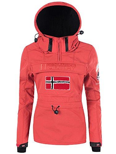 Desholle N624 Geographical Norway Damen Softshell Outdoor Funktions Jacke mit Kapuze, Farben:Orange;Größen:36 (S)