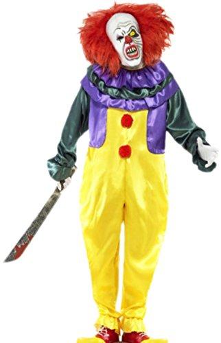 Fancy Ole - Herren Männer Kostüm Horror Clown mit Jumpsuit und Maske mit Haar, L, (Mumie Kostüme Männer)