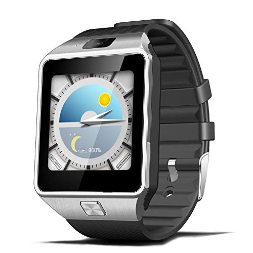 ZJTA Dz09 Smart Watch, Touch Screen Cell Phone with SIM Card Slot Smart Watches Fitness Tracker Unlocked Universal GSM Bluetooth Compatible Android and Ios,Silver Unlocked Touch Screen Cell Phone