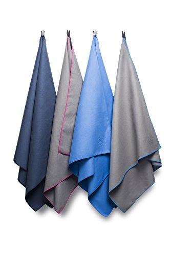 Bahidora Microfaser Handtuch Groß 70x130cm dunkelblau. MikrofaserHandtücher, Reisehandtuch, schnelltrocknendes Handtuch. Inkl. Aufhängeschlaufe & Transportbeutel