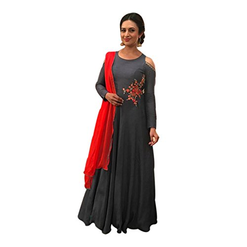 Embroidered GREAY Color Semi-Stitched Gown In COTTON Fabric.