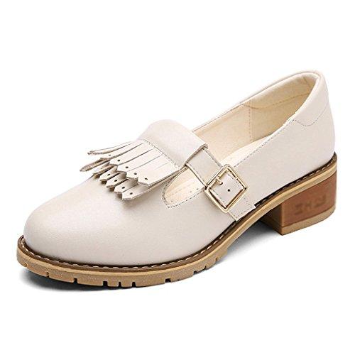 HWF Chaussures femme Printemps Britannique Style Simple Femme Gland Cuir Chaussures Shallow Mouth Mid Heel Chaussures Casual Femmes Chaussures ( Couleur : Noir , taille : 39 ) Beige