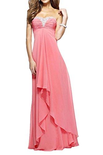 Victory Bridal Herrlich Herzausschnitt Steine Abendkleider Partykleider Abschlussballkleider Lang Wassermelon