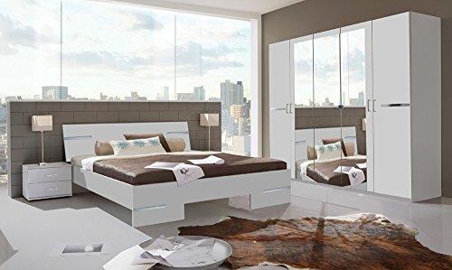 Schlafzimmer 4-tlg. Alpinweiß mit Chrom-Aufleistungen, Schrank B: 225 cm, Futonbett 180 x 200 cm, 2 Nachtschränke B: 52 cm