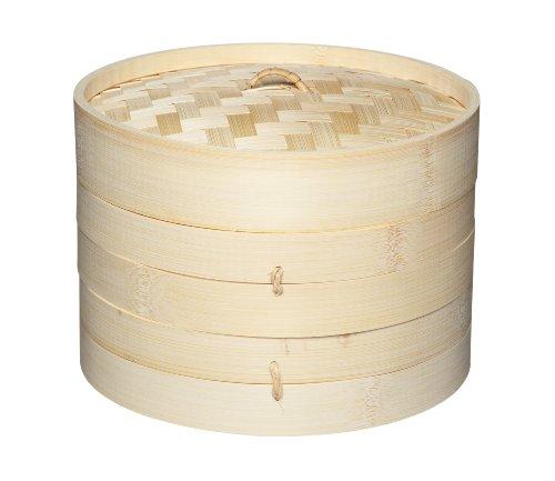 Kitchen Craft Pure Oriental Bambus-Dampfkorb mit 2 Ebenen, inkl. Deckel