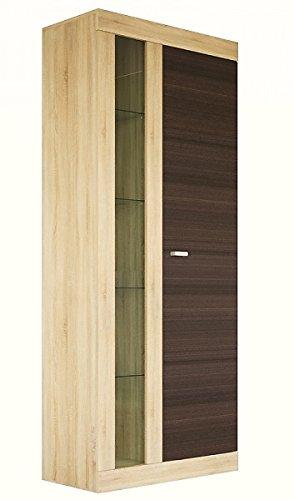 Wohnwand Anbauwand mit Glasvitrine 80cm 65116 sonoma eiche / niagara eiche - 2
