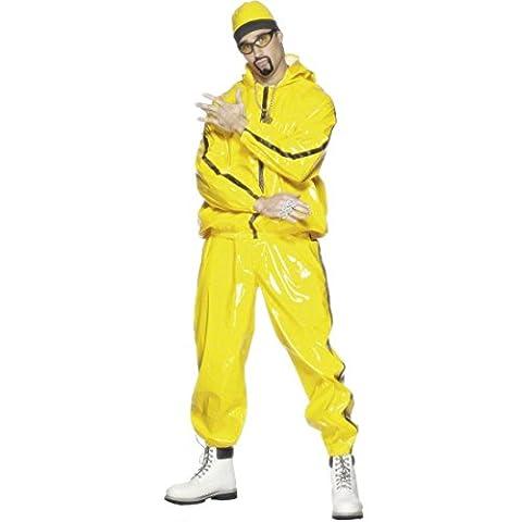 80er Jahre Rapper Kostüm Gangster Outfit Gelb L 50/52 Ali G Rapperkostüm Pimp Karnevalskostüme Männer (80 Anzug Kostüm)