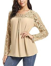 80fcb6c52ee7 Abollria Camicia Donna Elegante Blusa Girocollo con Ricamo e Vuoto  Camicetta Leggero a Manica Lunga o Smanicata per Primavera…