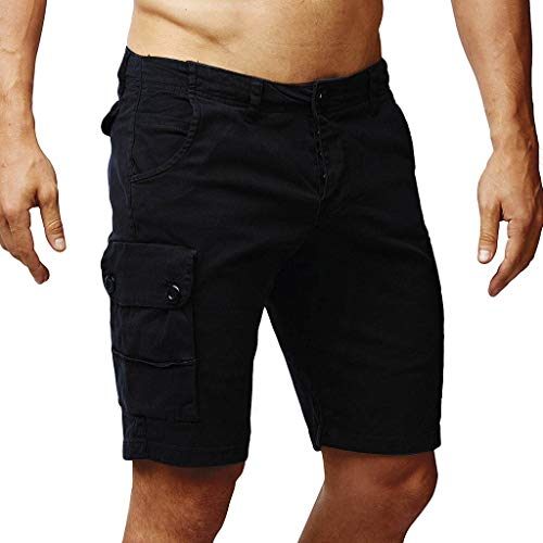 Männer-Button-Stil Baumwolle Einfarbig Multi-Pocket Overall Shorts Fashion Hosen Cord-bell-bottom-jeans