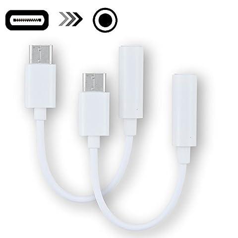Rancco® Type C à 3.5mm Audio Casque Stéréo Adaptateur Connecteur, 2 Pcs USB 3.1 / USB C à 3.5mm Audio Microphone Adaptateur femelle pour Moto Z Force, Macbook 2015, XPS13, CDLA, Type C Dispositifs de port
