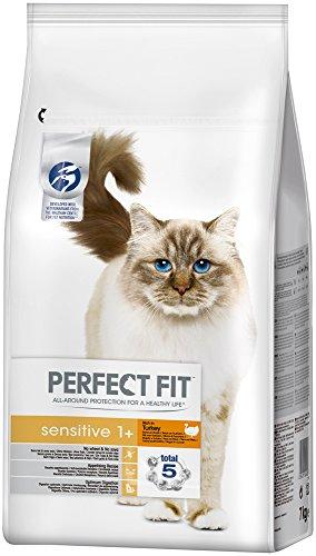 Perfect Fit Katzenfutter Trockenfutter Sensitive reich an Truthahn für sensible Katzen 1+, 1 Beutel (1 x 7 kg)