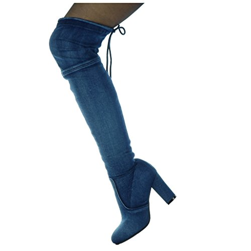 8 Blocco Blu 5 Centimetri Cuissarde Flessibile Guida Marino Donna Angkorly I Pattino Tallone Jeans Rider Denim 7zngqP