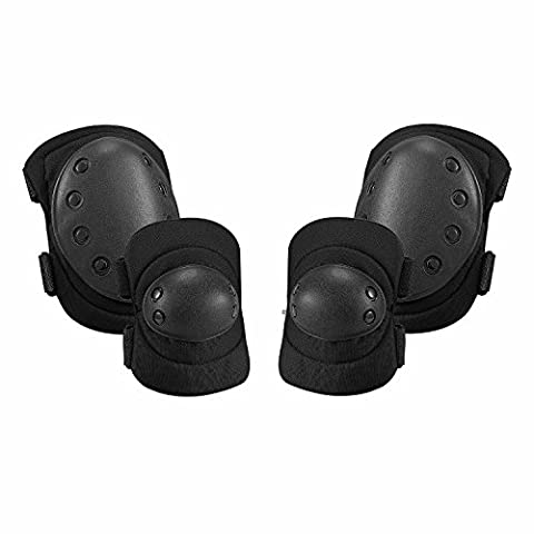 Knee Pads, Adults Safety Elbow Pads - SKL Outdoor Protective Gear Set For Airsoft, Skateboard,Biking, Riding, Cycling and Multi Sports - (4PCS