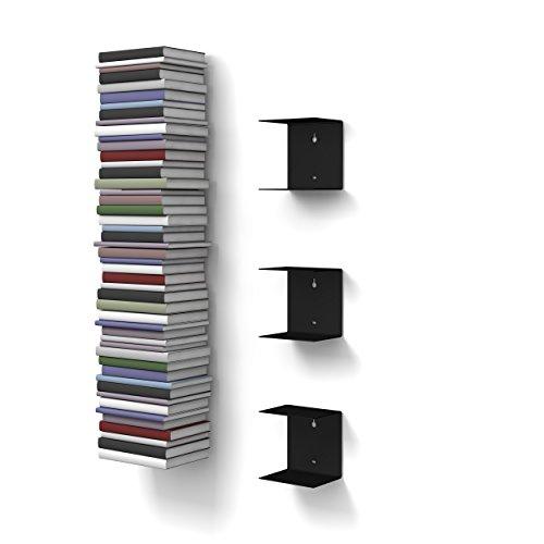 home3000 - 3 Mensole libreria, invisibili, colore: Nero, con 6 scomparti, altezza:fino a 150 cm, per mettere i libri in pila, per libri con profondità fino a 22 cm