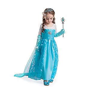 ELSA & ANNA UK Top Quality Girls Princess Fancy Dress Set Snow Queen Party Outfit Dress Set Halloween Costume Set - Package Includes Dress Gloves Crown and Wand- 6-7 Years (Label Size: 50), SETE2