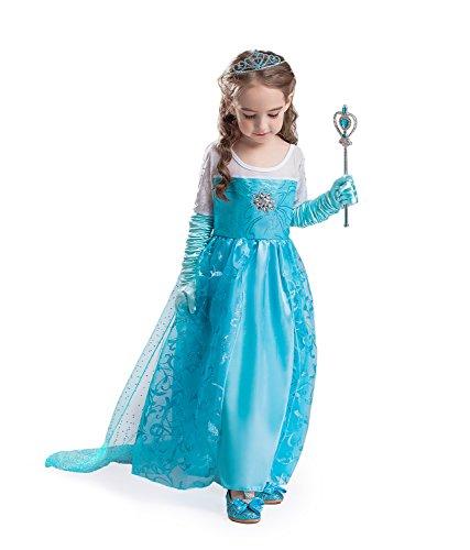 (ELSA & ANNA® Mädchen Prinzessin Kleid Paket Verrücktes Kleid Set Partei Kostüm Set - Paket Beinhaltet Kleid Handschuhe Krone Zauberstab - DE-SETE2 (SETE2, 4-5 Jahre))