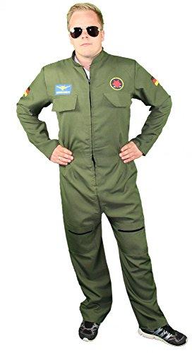 Foxxeo 40249 I sexy Jetpiloten Kostüm für Herren | Größe S, M, L, XL, XXL | Fliegeranzug Kostüm Anzug Pilotenoverall , Größe:XL
