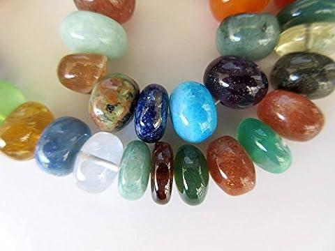 Multi Gemstone Rondelle Beads, Crystal Turquoise Lapis Onyx Carnelian Rondelle