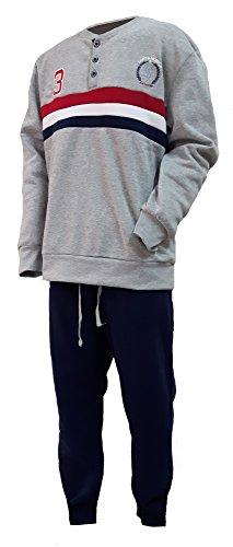 pigiama uomo felpa serafino calibrato SANTA MONICA polo club oversize art.SP012CAL (60, grigio)