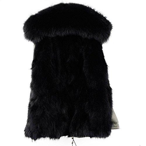 Damen Luxury PARKA XXL Kragen aus 100% ECHTPELZ ECHTFELL Jacke Mantel Fuchspelz Innenfutter Khaki/Schwarz