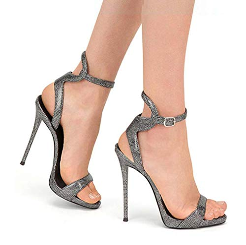 GHFJDO Damen High Heels Stripper Schuhe, Damen Plateau Kleid Sandale, Pole Dance Pumps Sandale,Bronze,45EU (Stripper-schuhe Breite Breite)